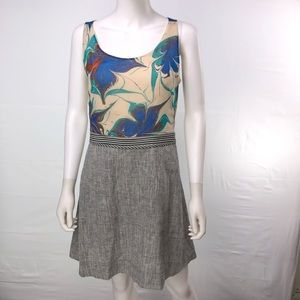 Rachel Roy Size 8 Floral Gray Cut-Out Shift Dress